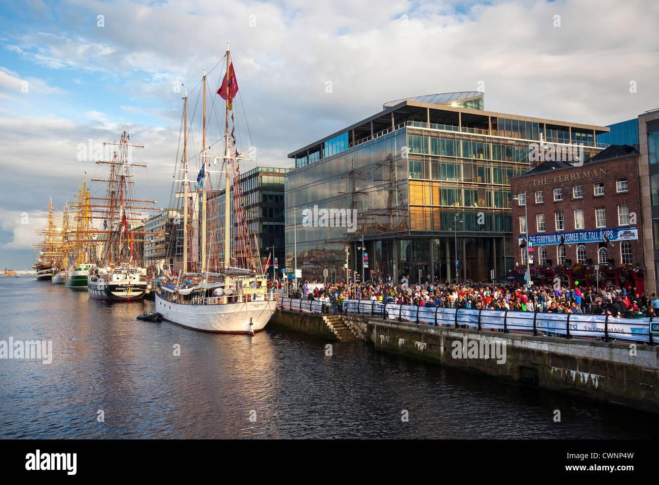 The Tall Ships Races Festival on Sir John Rogerson's Quay in Dublin - Stock Image