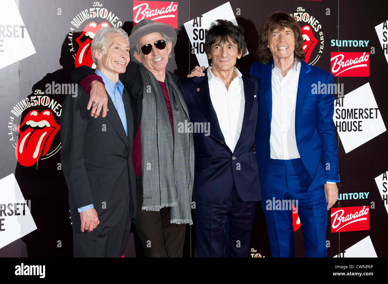 Charlie Watts, Keith Richards, Ronnie Wood and Mick Jagger, from the British Rock band, The Rolling Stones. - Stock Image