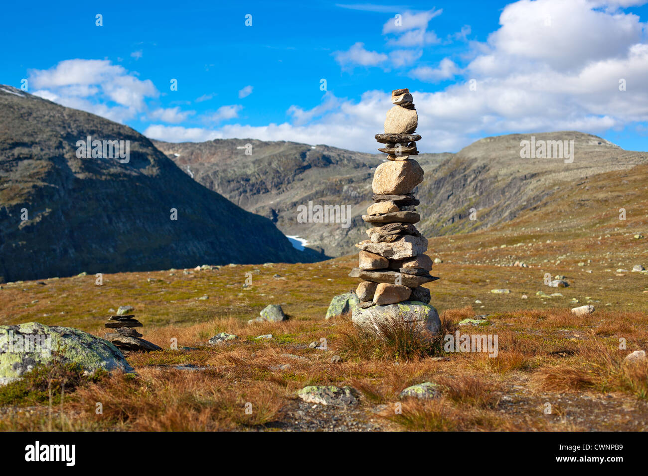 Big hand-made stone tower in Norway. - Stock Image