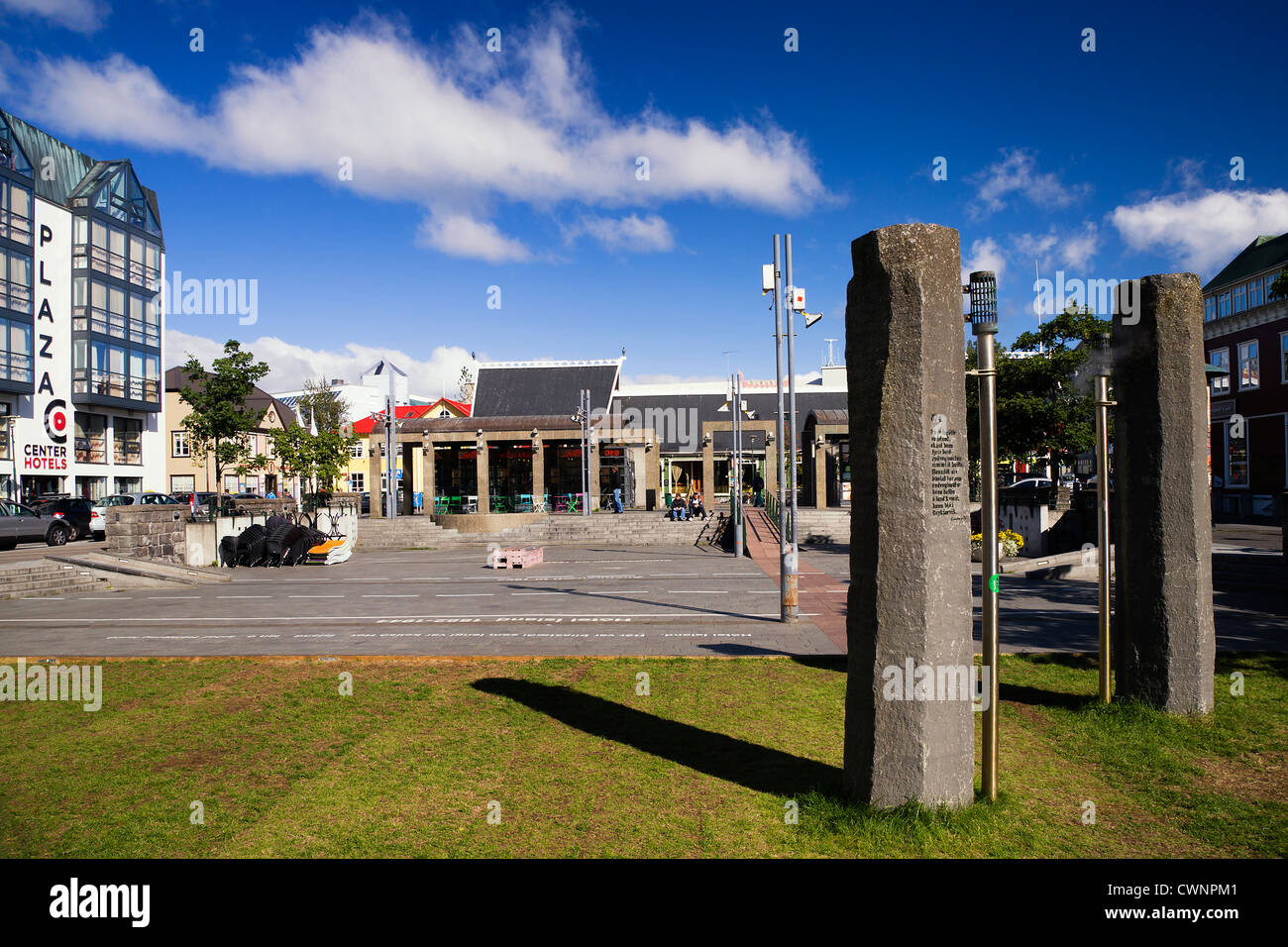 Ingólfstorg square, Reykjavik, Iceland, where geothermal energy is released through billowing steam vents - Stock Image