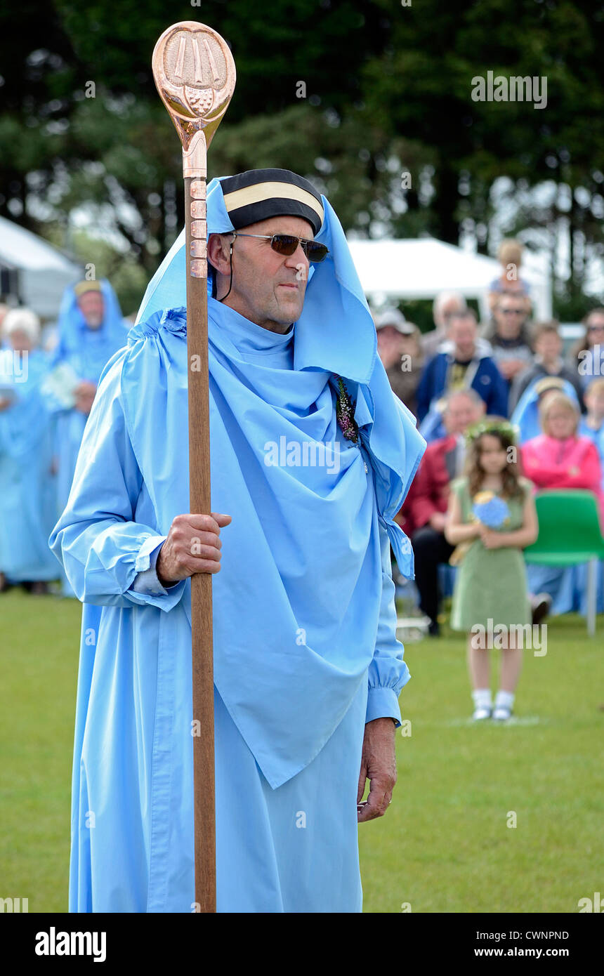 A ' Cornish Bard ' at the gorsedh celebrations in Camelford, Cornwall, UK - Stock Image