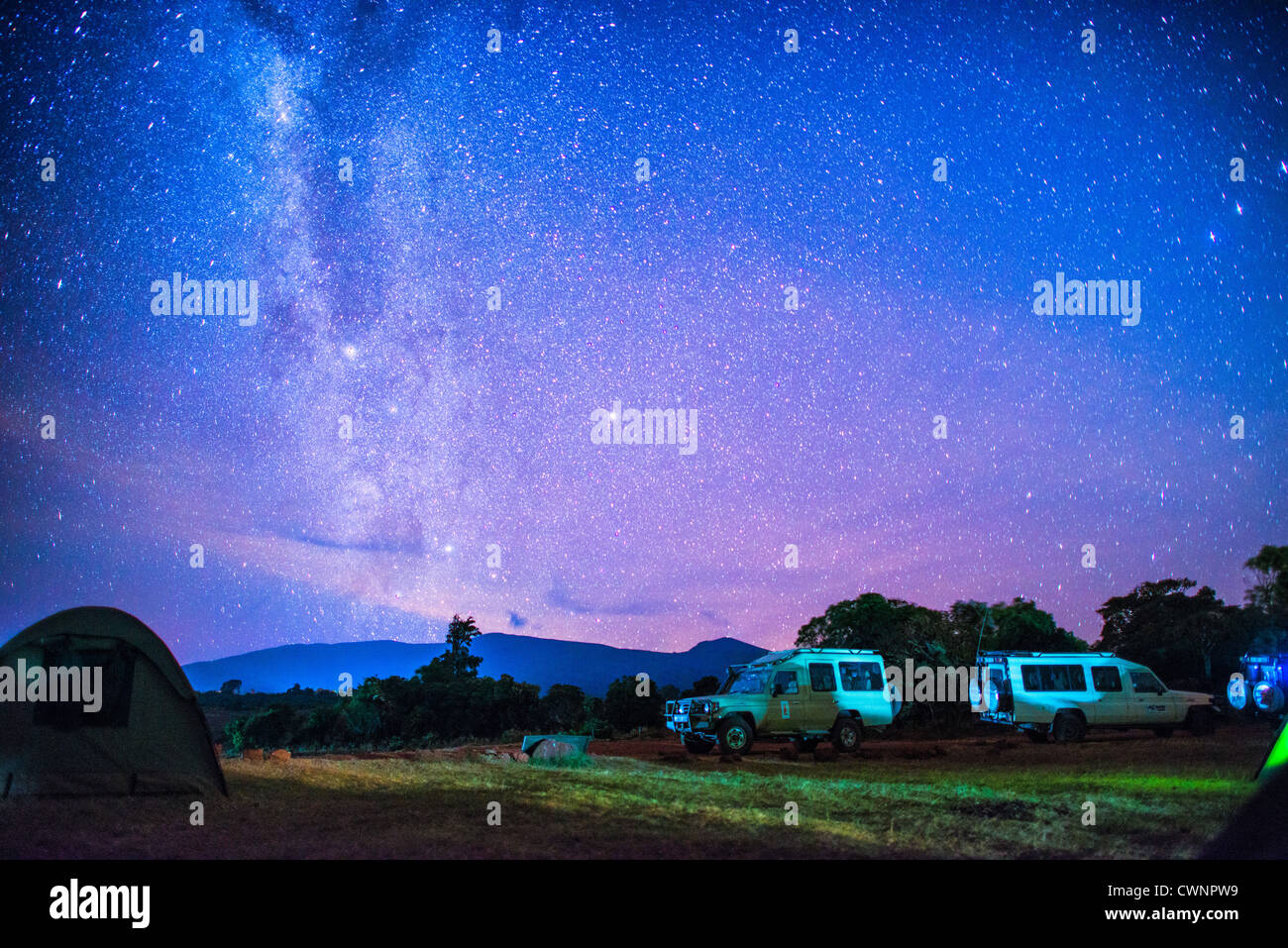 NGORONGORO CONSERVATIONAL AREA, Tanzania - A clear night sky with stars and the milky way clearly visible from the - Stock Image
