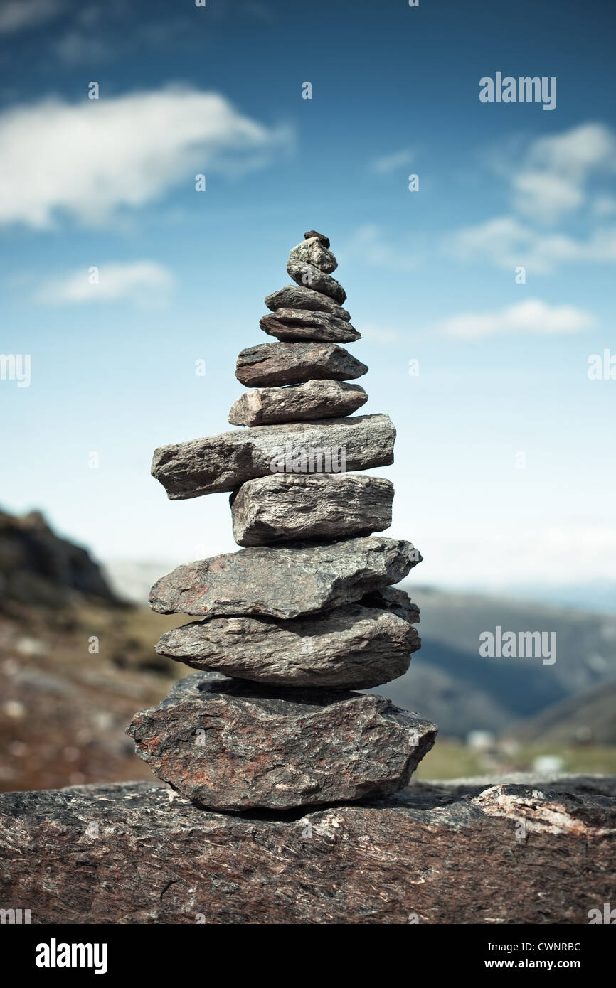 Big hand-made stone tower in Norway. Stock Photo