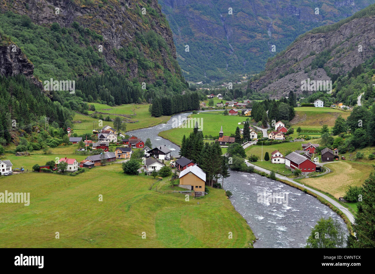 a view of the flam valley from the flam railway norway stock photo