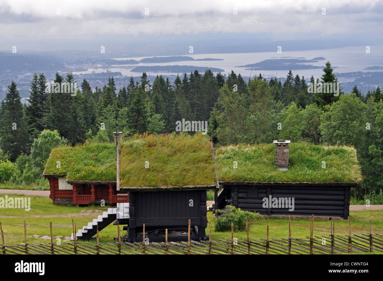 Sod roofs on buildings at Frogneseteren, near Oslo, Norway - Stock Image