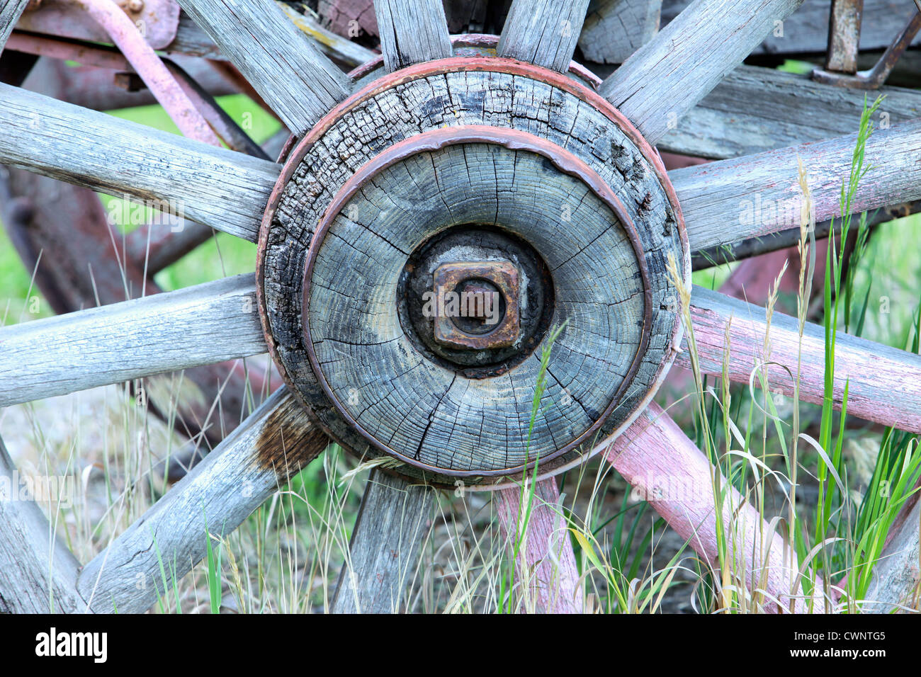 Old, antique wagon wheel with weathered wood and rusty metal