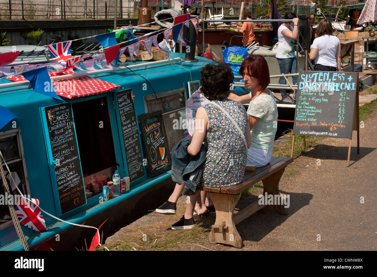 Regents Canal Floating Market in Mile End, London - Stock Image