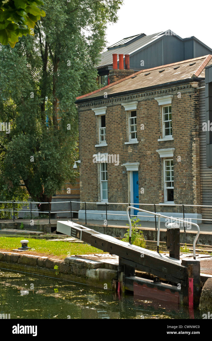Mile End Lock, Regents Canal, London - Stock Image