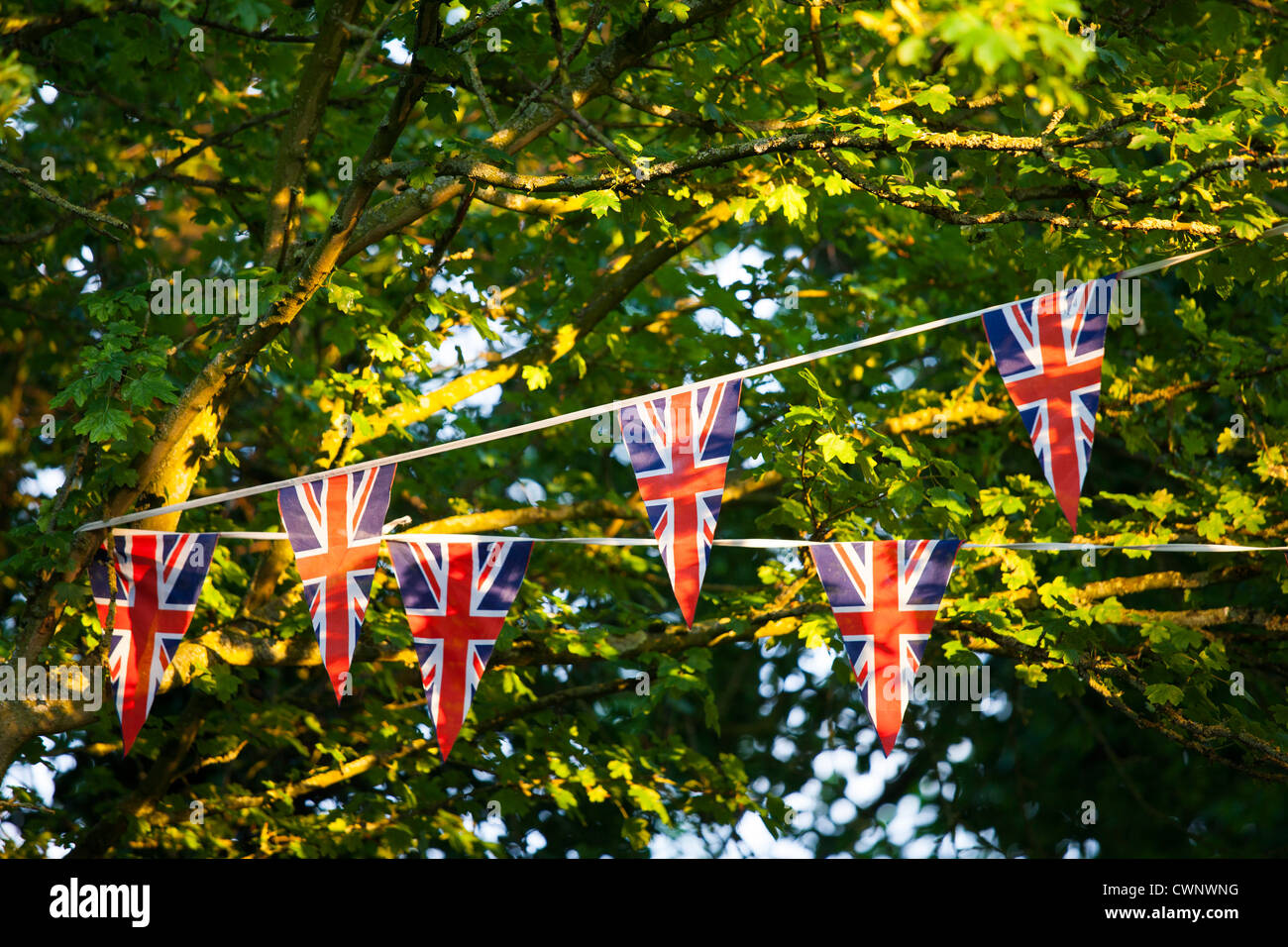 Union Jack flag bunting at street party to celebrate the Queen's Diamond Jubilee in Swinbrook in the Cotswolds, - Stock Image
