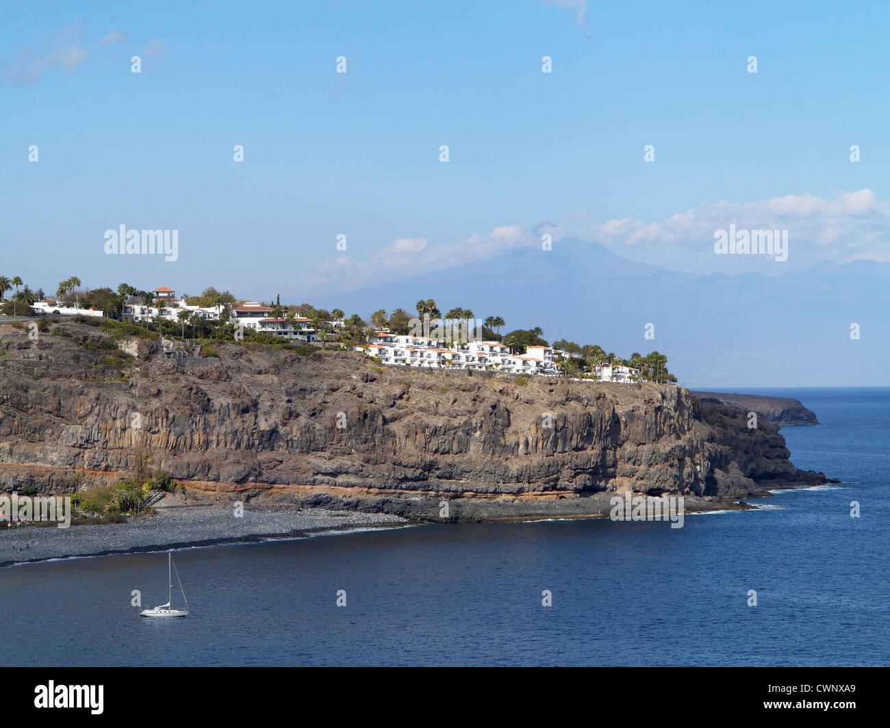 Spain La Gomera View Of Hotel Jardin Tecina On Cliff Stock Photo