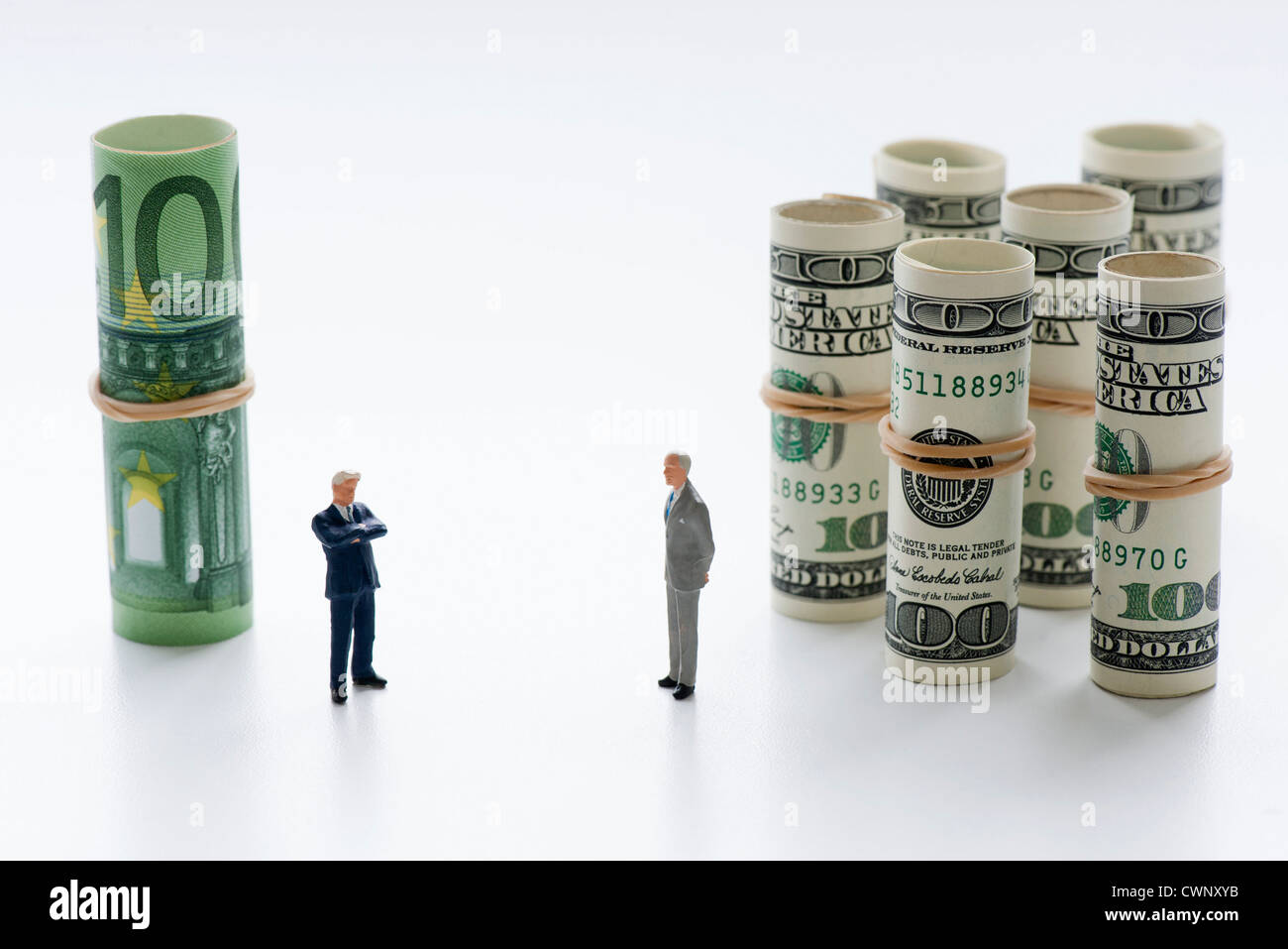 Euros competing against dollars - Stock Image