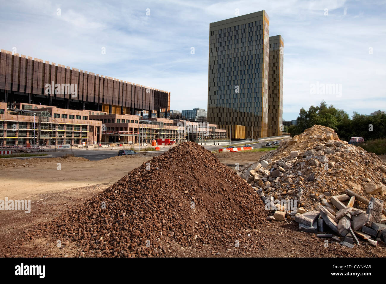 construction site, Office towers, European Court of Justice, Kirchberg Plateau, European District, Luxembourg City, - Stock Image