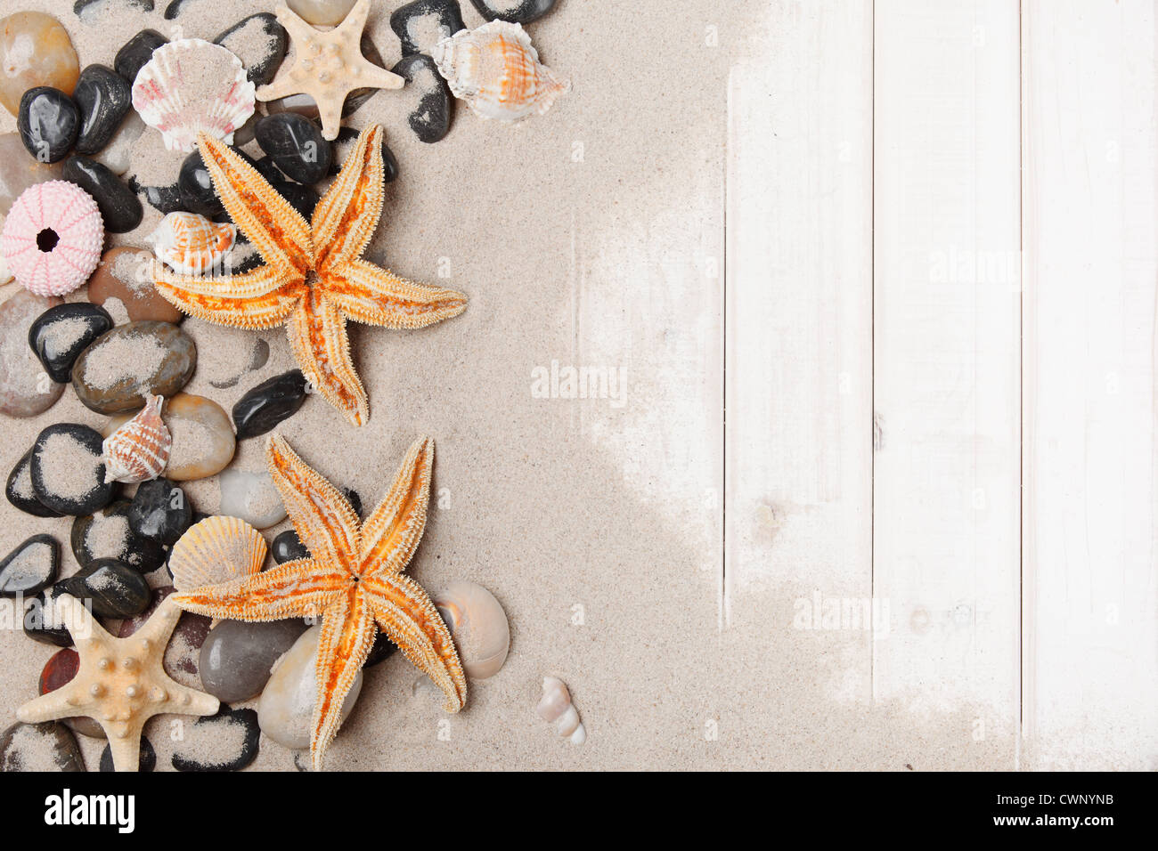 Star fish,pebbles,sand and wood background. - Stock Image