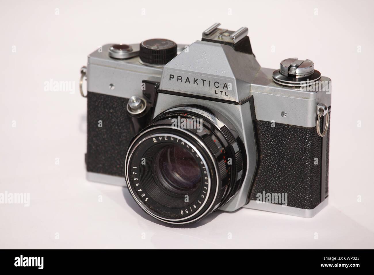 A Praktica 35mm format film camera. - Stock Image