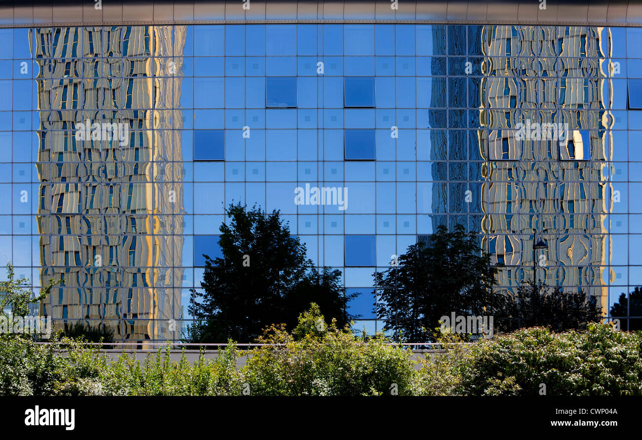 European Court of Justice, reflected in glass cladding of the Sofitel hotel building, Kirchberg, Luxembourg, Europe - Stock Image