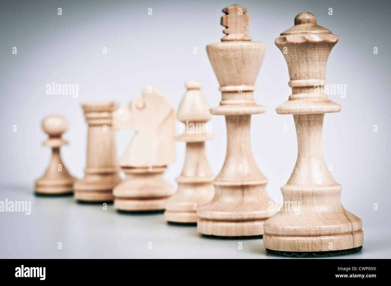 set of chess pieces white - Stock Image