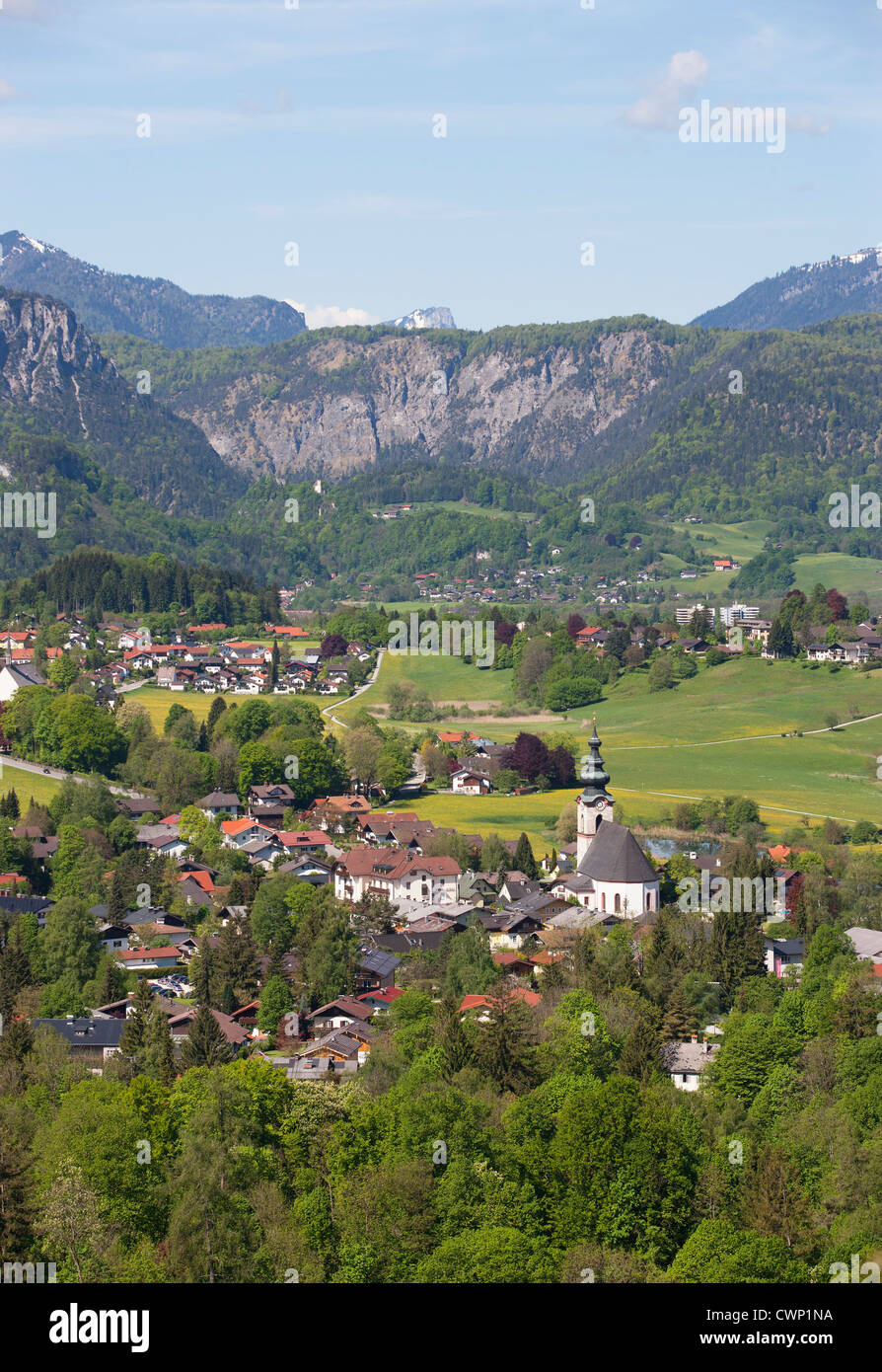 Germany, Bavaria, View of Bayrisch Gmain with Latten mountains in background - Stock Image