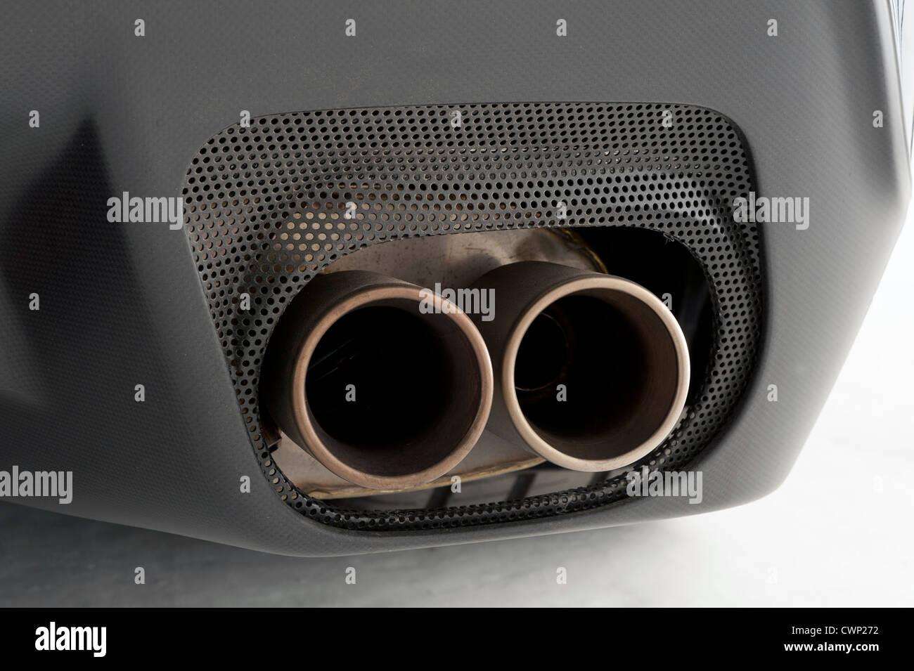 Ferrari 599 GTO 2010 exhaust pipes - Stock Image