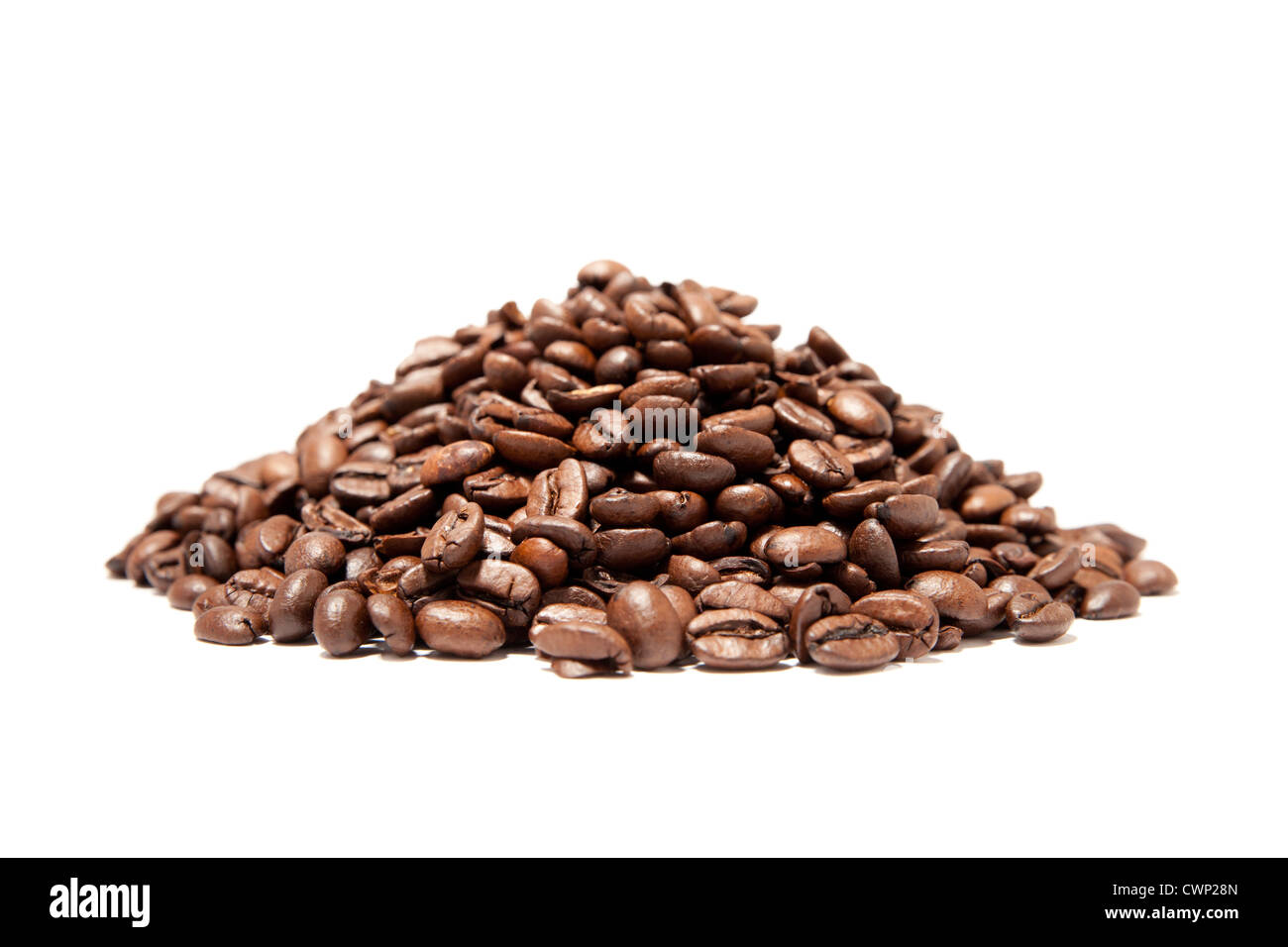 A pound of well roasted arabica coffee beans - Stock Image