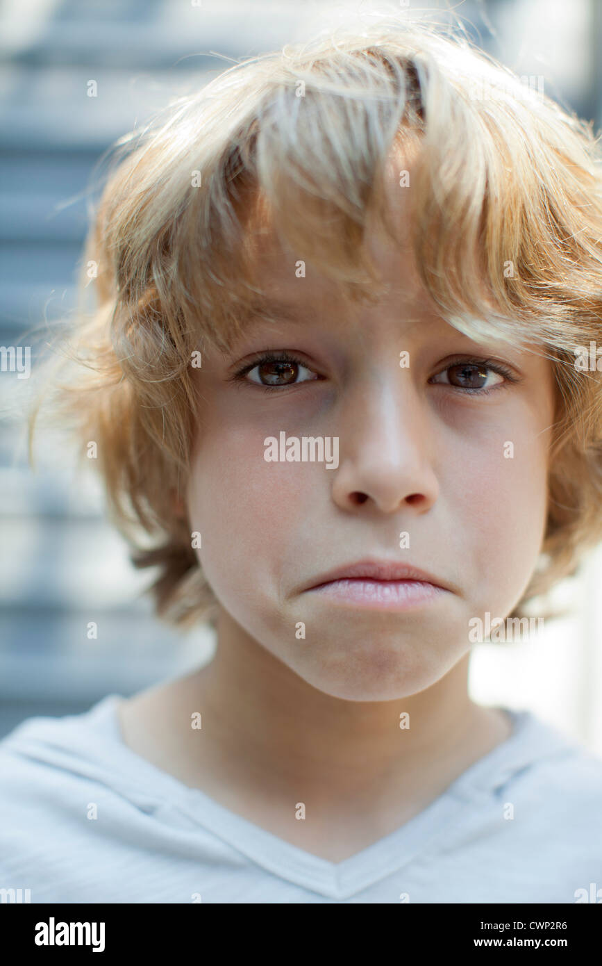 By frowning, portrait - Stock Image