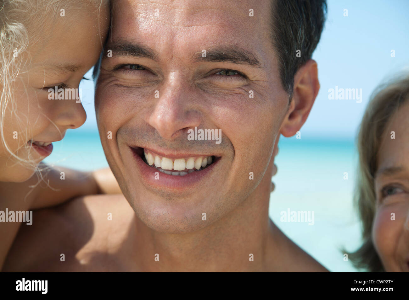 Father and young daughter, portrait - Stock Image