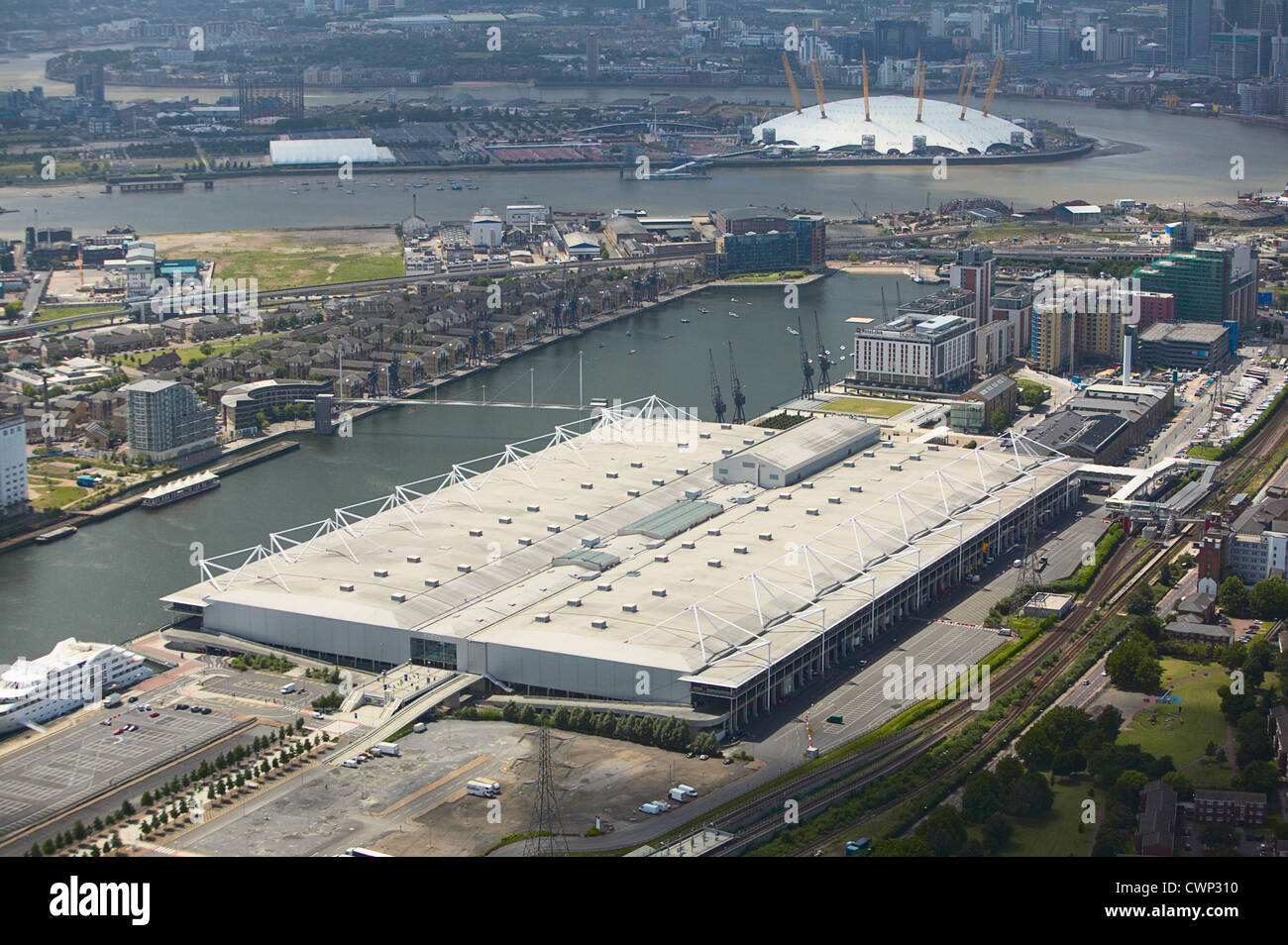 Aerial view of the ExCel Exhibition Centre Royal Victoria Dock and the Millennium Dome. London, UK. - Stock Image