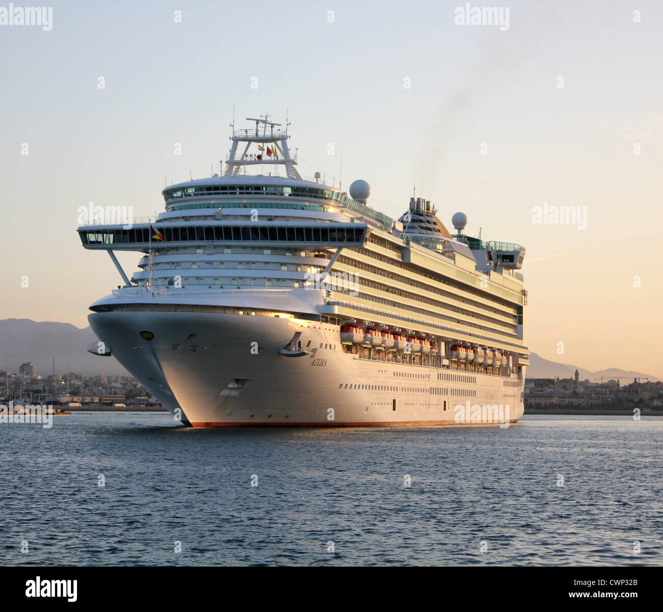 Cunard Line Cruise Ship 'Azura' arriving at early morning into the Port of Palma de Mallorca, Balearic Islands, - Stock Image