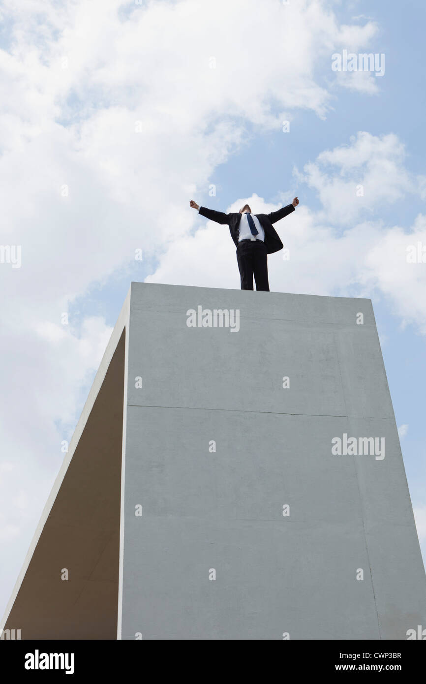Businessman standing on concrete structure with arms outstretched, low angle view - Stock Image