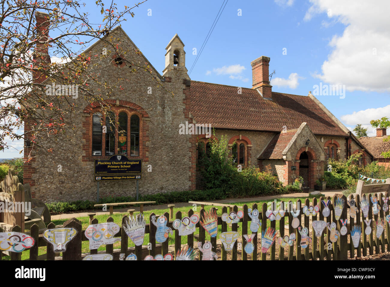 Traditional village Church of England Primary School building decorated with drawings of Olympics 2012 Pluckley - Stock Image