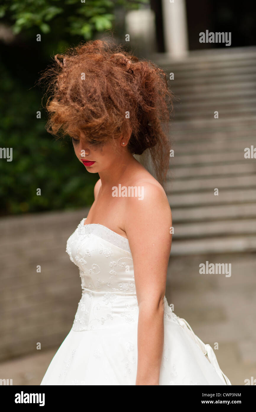 3a65647ab5 a young attractive woman in an Alt alternative bride fashion shoot