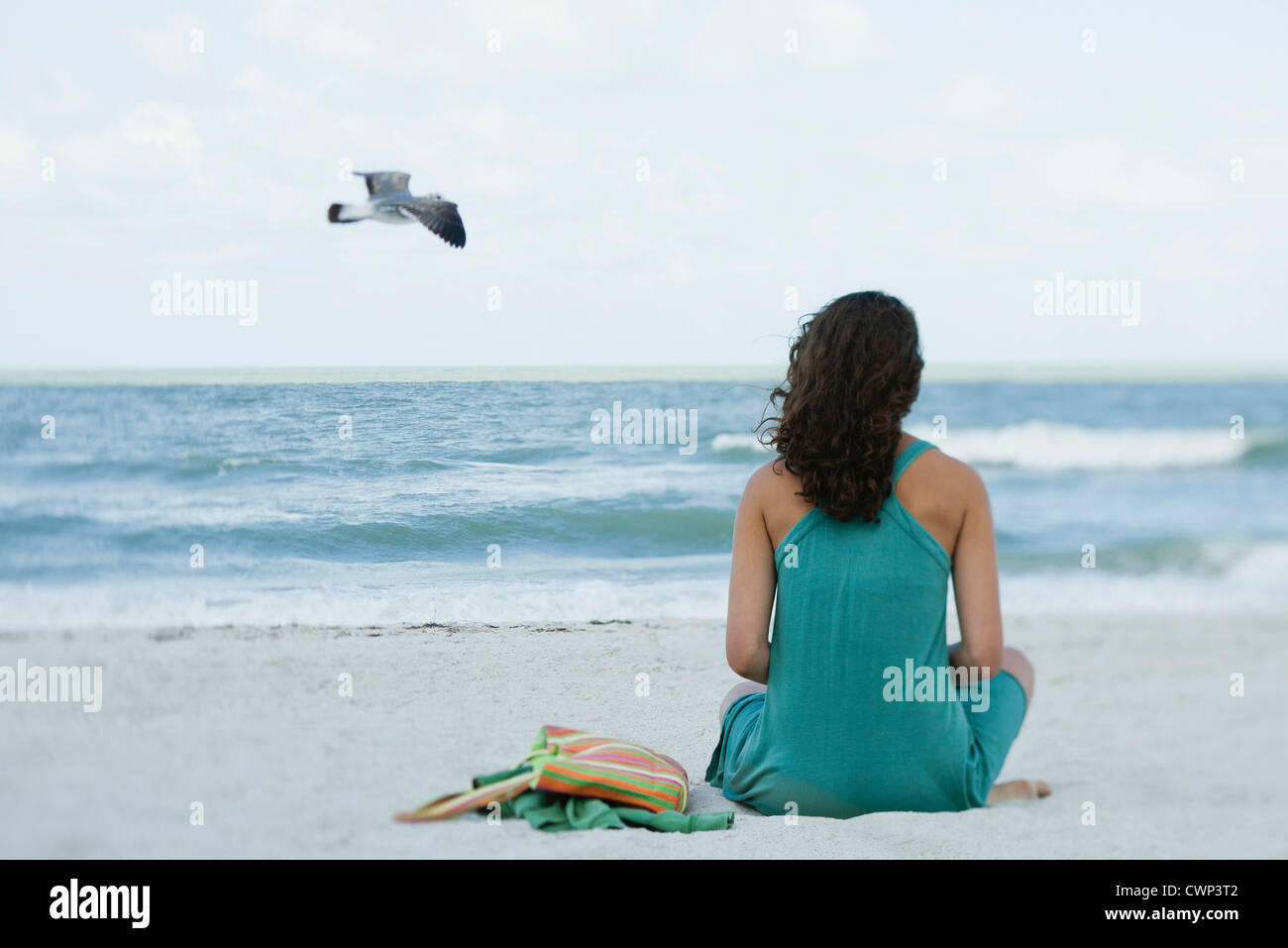 Teenage girl sitting on beach looking at ocean, rear view - Stock Image