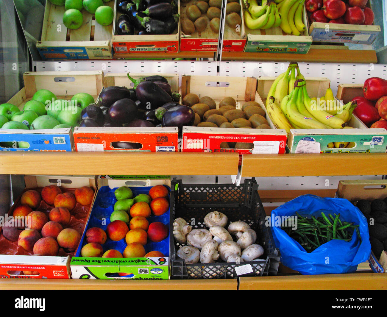 Fruit and Vegetable Display at a Greengrocers, Crete, Greece - Stock Image