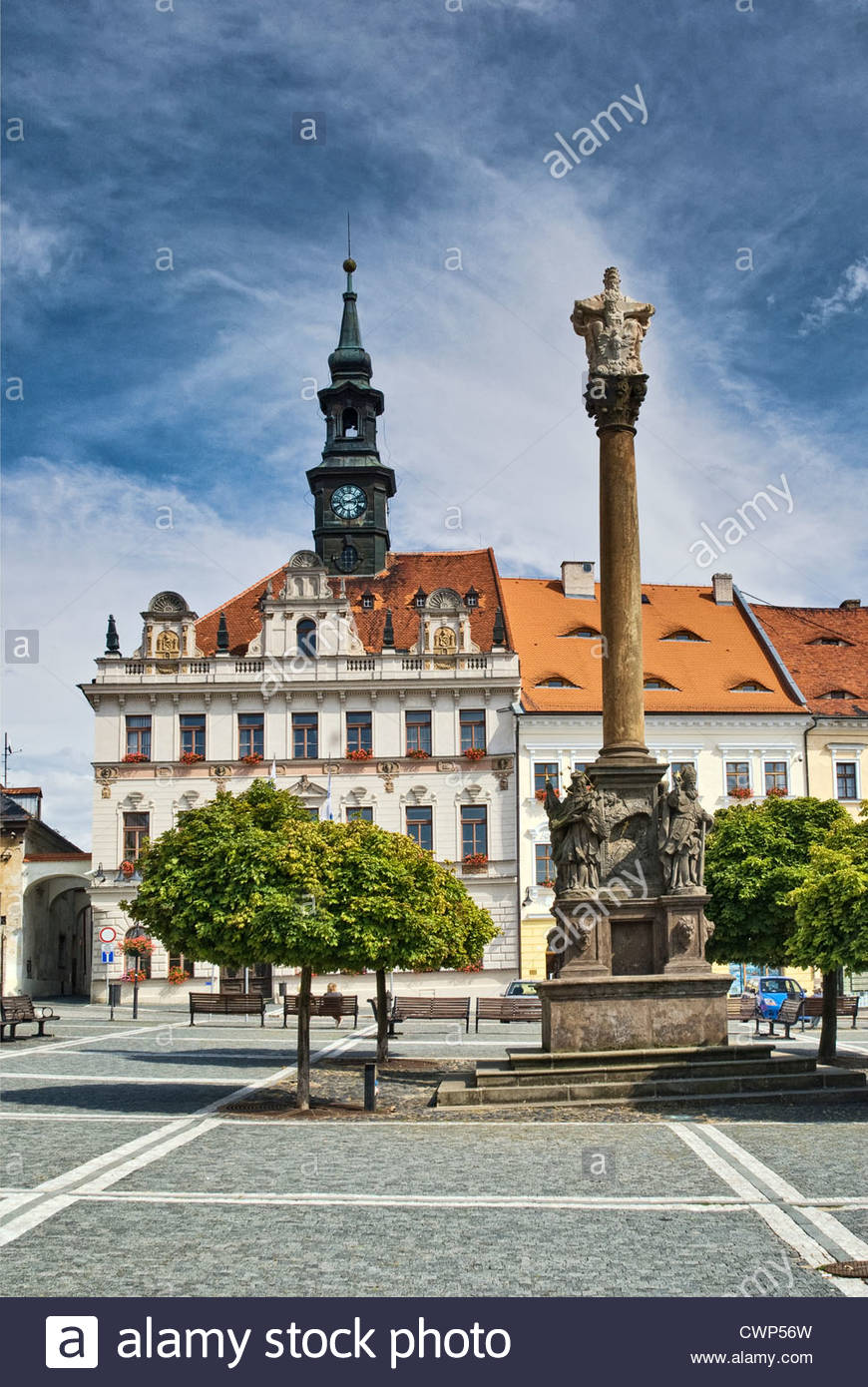 Plague column and town hall at Náměstí Masaryka in Česká Lípa in Liberecky kraj (Liberec Region), Czech Republic Stock Photo