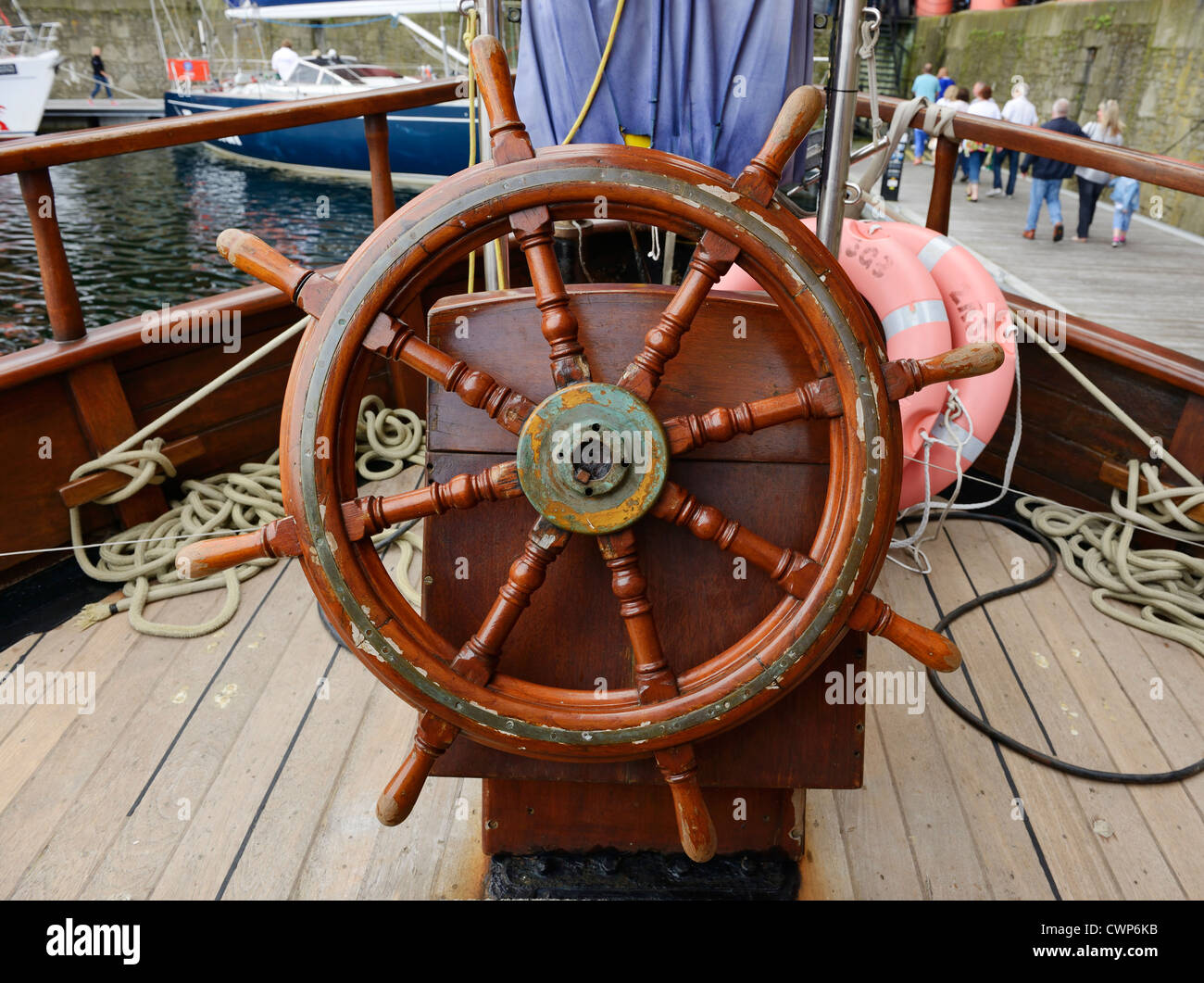 Ships wheel on a Tall Ship - Stock Image