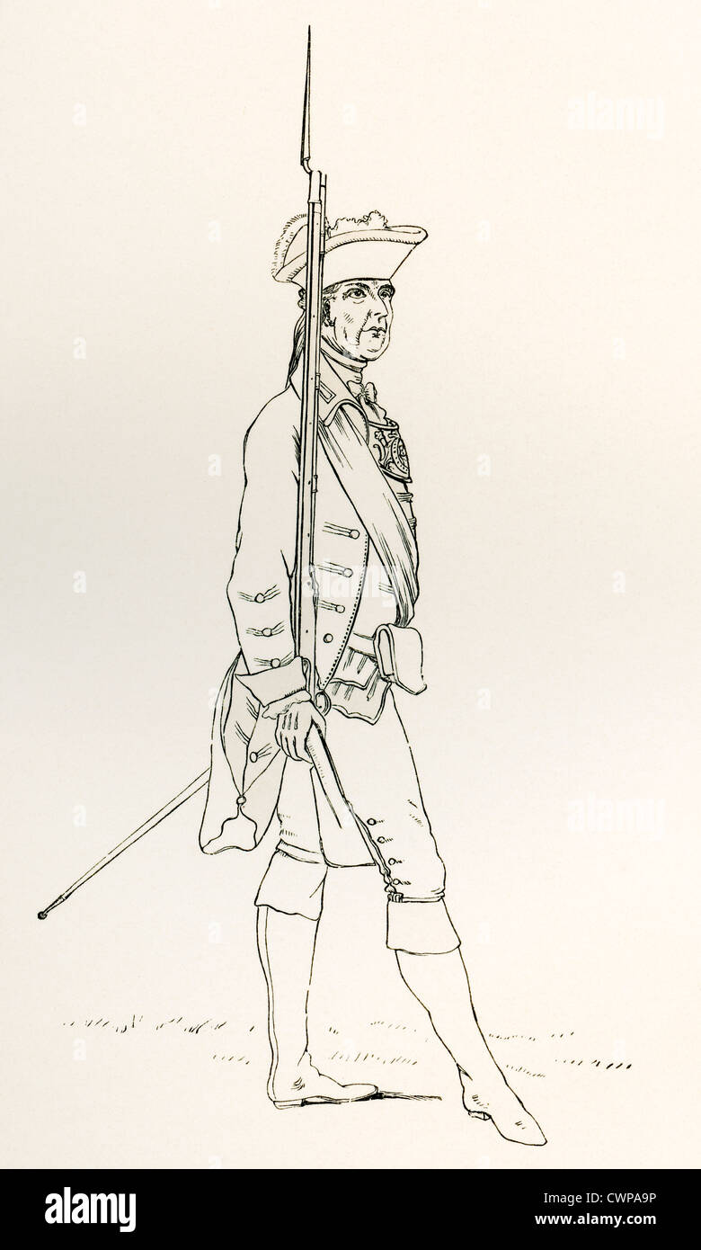 Officer of the Norfolk Militia with a Fusil and Gorget, A.D. 1759. - Stock Image
