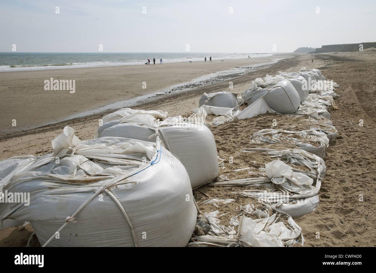Failed geotextile tube (geotube) sea defences on beach, Happisburgh, Norfolk, England, august - Stock Image