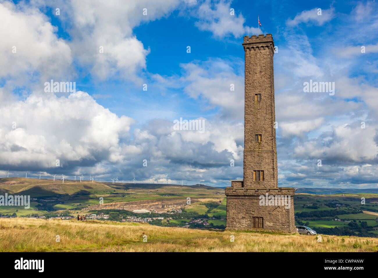 The Peel tower at Holcombe in Lancashire. Commemorates Sir Robert Peel one time Prime Minister of Great Britain. - Stock Image