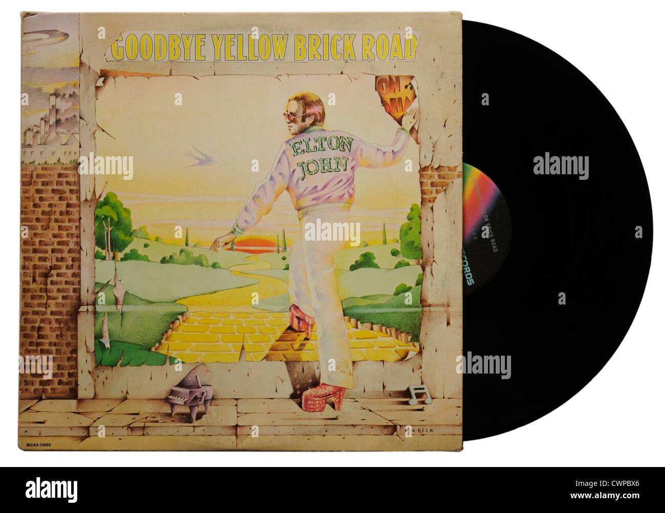 Elton John Goodbye Yellow Brick Road album - Stock Image