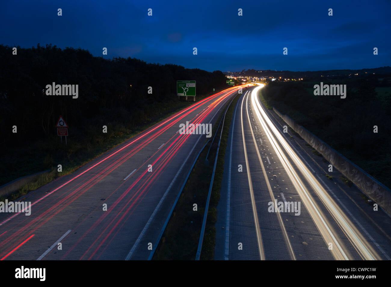 Light Trails; A30; Penzance; Cornwall; UK; summer - Stock Image