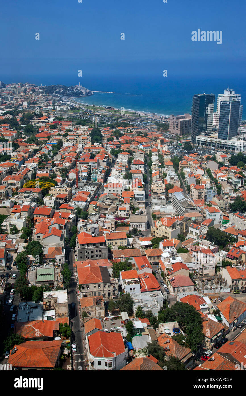 Middle East. Israel. Tel Aviv. Aerial view of city and Mediterranean Sea. Stock Photo