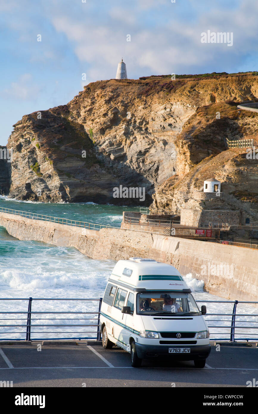 Portreath; camper van; parked at coast; Cornwall; UK - Stock Image