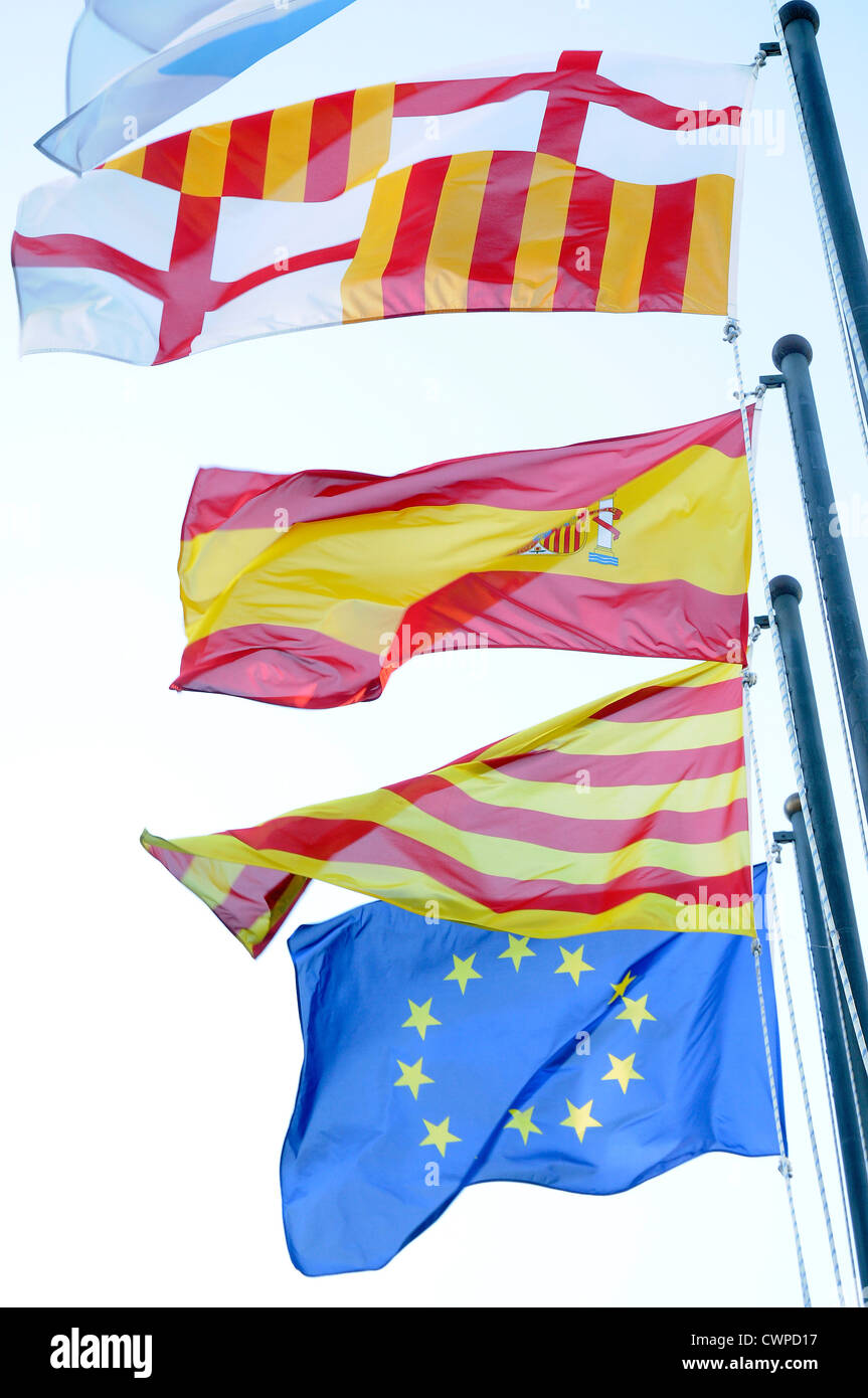 4 flags Spanish, Catalan, European Community  EC,   European Economic Community CEE, and Barcelona, - Stock Image
