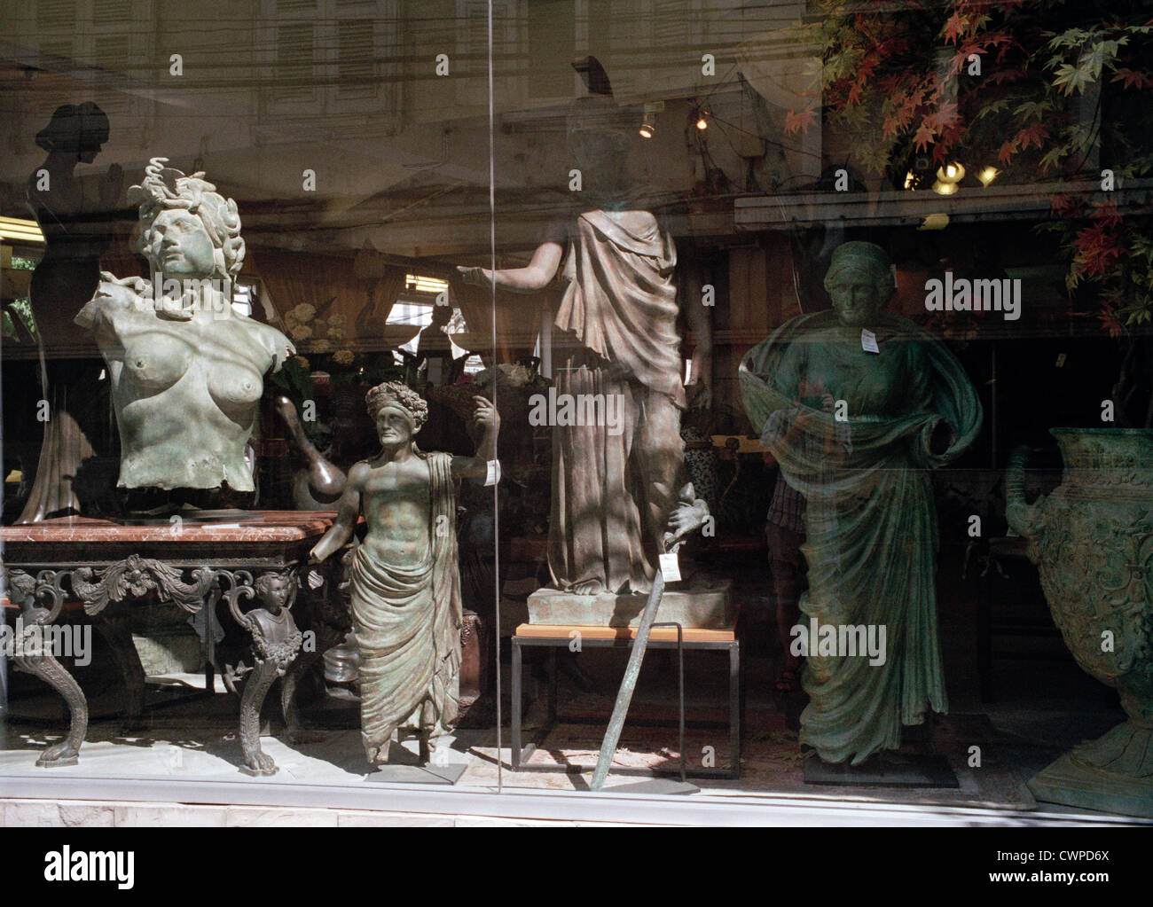 Classical art in Bangkok in Thailand in Far East Southeast Asia. Shop Shopping Sculpture Statue Antiquity Antiquities Stock Photo