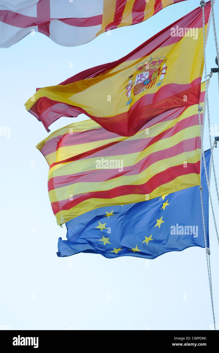 4 flags Spanish, Catalan, European Community  EC,   European Economic Community CEE, Barcelona, - Stock Image