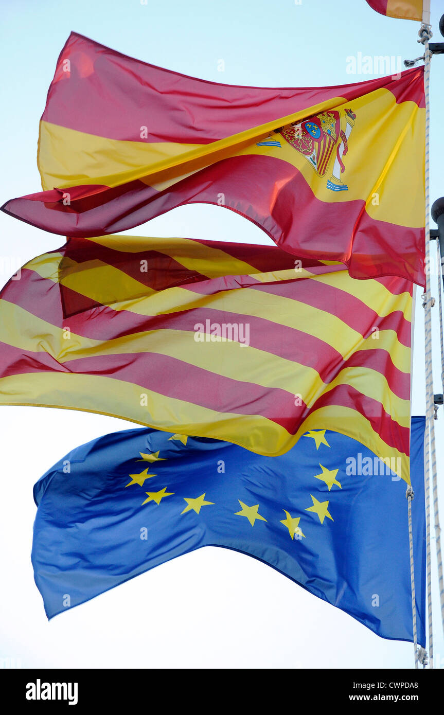 3 flags spanish catalan european community ec european economic community cee