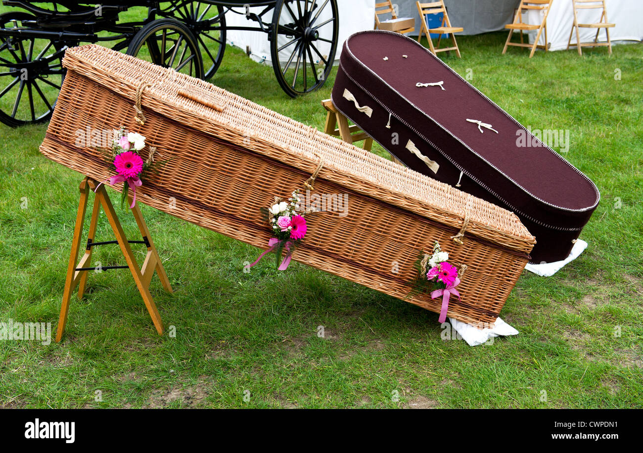 Eco coffins on display at a Country Show in Essex - Stock Image