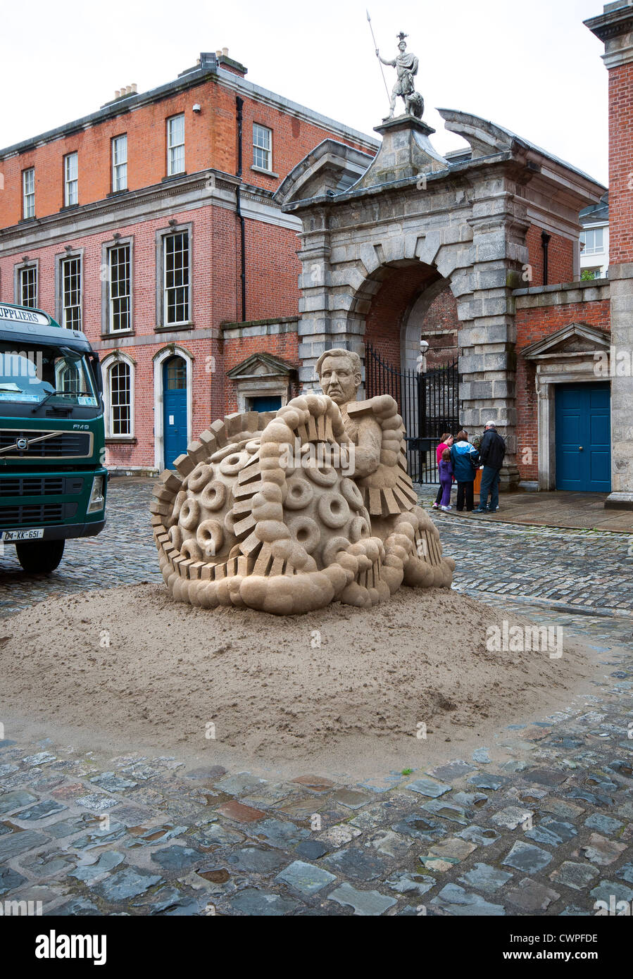 Sand sculpture titled Crystallography by Niall Magee in Dublin, Ireland - Stock Image