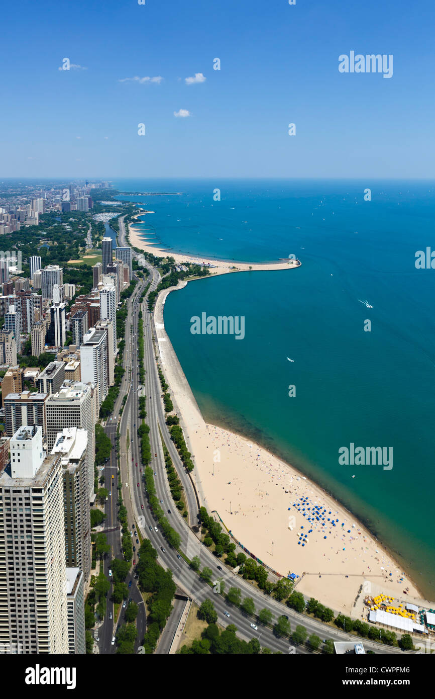 View over Oak Street and N Avenue beaches on Lake Michigan viewed from John Hancock Center, N Michigan Avenue, Chicago, - Stock Image