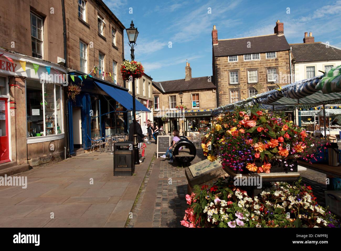 Market Place, Alnwick, Northumberland UK - Stock Image