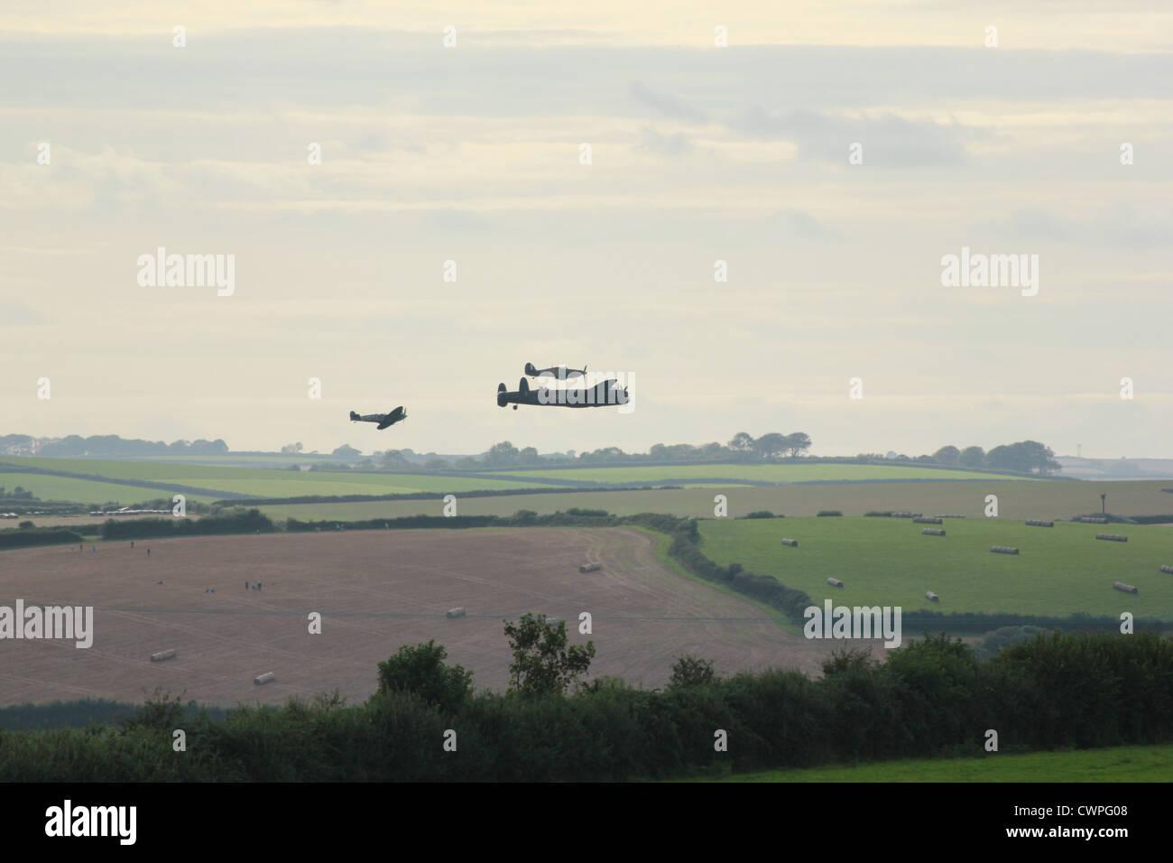 Battle of Britain Memorial Flight in formation over Dartmouth, Devon - Stock Image